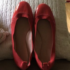 Coral patent leather flats